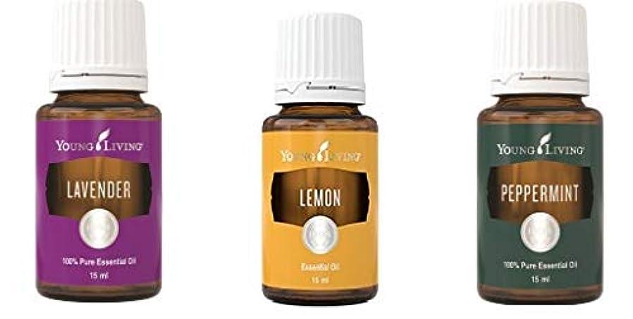 約ヘロイン寝室を掃除するヤングリビングイントロキットペパーミント、ラベンダーとレモン15 ml +送料無料 Young Living Intro Kit Peppermint, Lavender and Lemon 15 ml +Free Standard Shipping