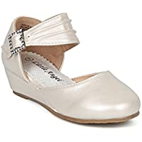 Alrisco Girls Round Toe Ankle Strap Dorsay Ankle Strap Low Wedge HH17