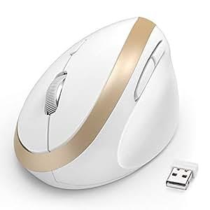 Jelly Comb エルゴノミクスマウス 2.4G ワイヤレスマウス 静音 垂直型 800/1200/1600 dpi - 右利き用 腱鞘炎防止 長時間の使用でも疲れにくい MV009 (ホワイト+ゴールド)