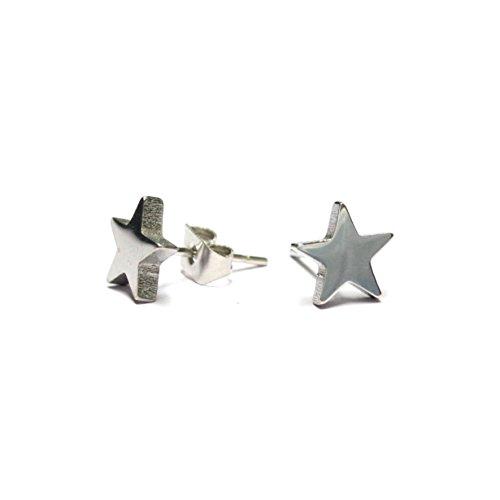 【N2 stone】 スター(星型) サージカルステンレスピアス 2個セット 20G(約0.8mm) / ファッションピアス / スタッドピアス / メンズ&レディース   (銀(シルバー))