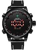 Men 's Sport Watch Quartz Japan Movement腕時計、カレンダー月日付日、バックライト、2タイムゾーン、アラーム