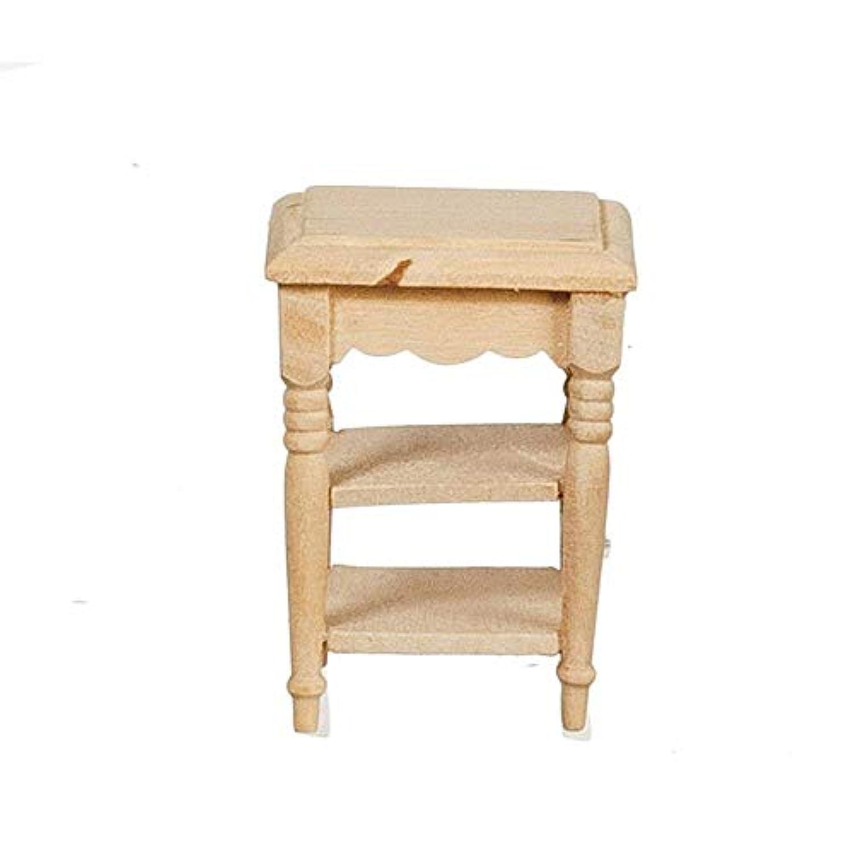 MelodyジェーンドールハウスSideテーブルwithシェルフUnfinishedベア木製ミニチュア家具