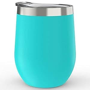 Babigo 保温蓋付絶縁ワインカップ丨12オンス350ml 真空断熱 - 304ステンレスタンブラーマグカップ【保冷コーヒー ビール キャンプ アウトドアコップ丨二重構造水筒軽量BPAフリ】