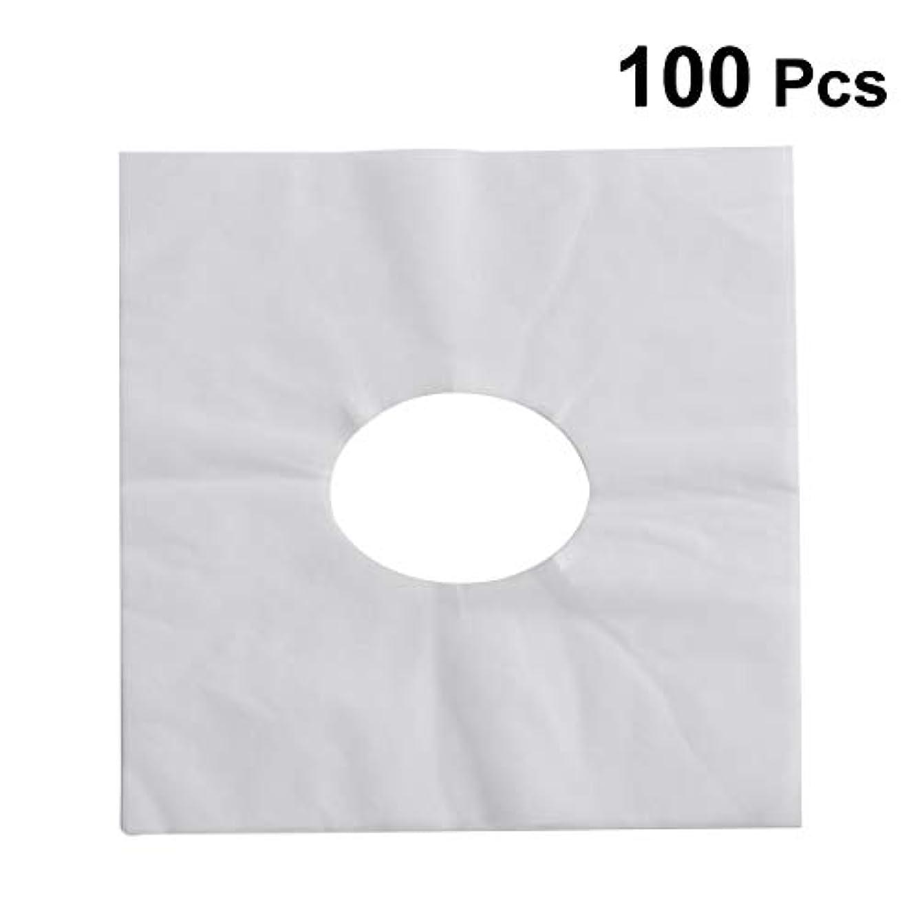 思慮深いサスティーン刺繍HEALIFTY 使い捨てフェイスカバーパッドフェイスホールピロークッションマットSPA 100個入(ホワイト)