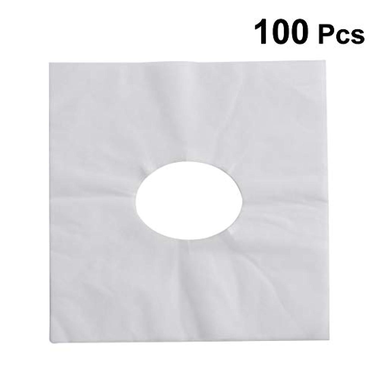 影響する対抗ドームHEALIFTY 使い捨てフェイスカバーパッドフェイスホールピロークッションマットSPA 100個入(ホワイト)