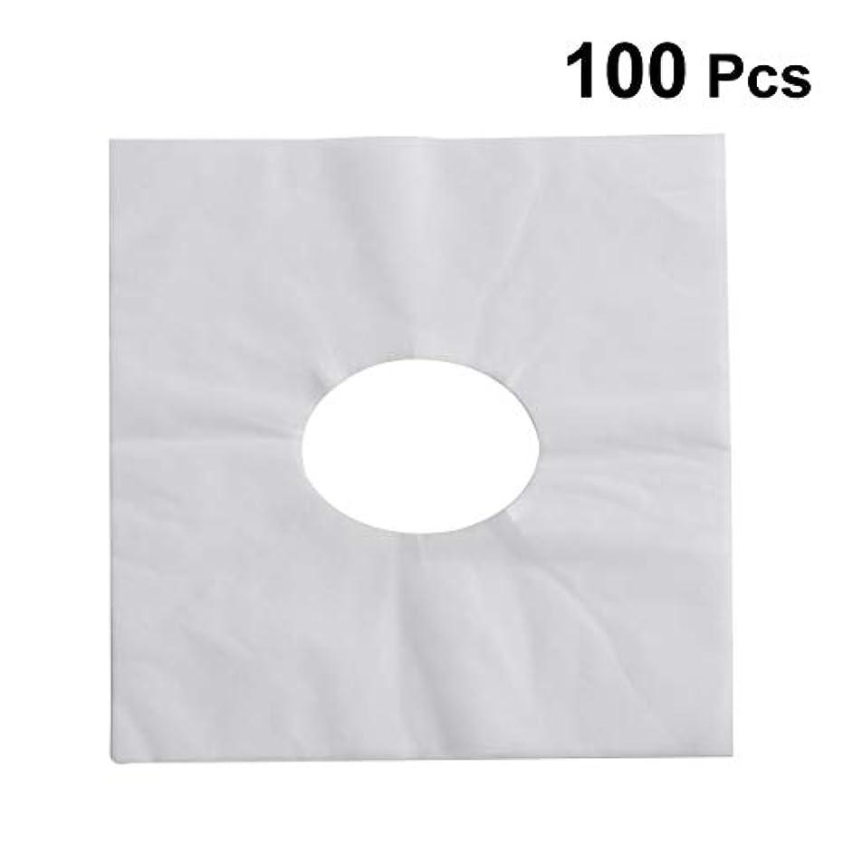 理容師もろいメッセージHEALIFTY 使い捨てフェイスカバーパッドフェイスホールピロークッションマットSPA 100個入(ホワイト)