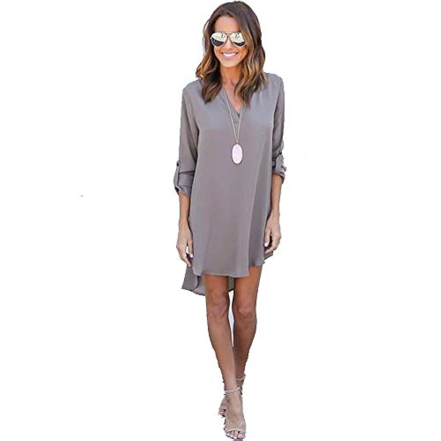 クスクススポット同一のMIFAN女性ドレス、シフォン、Vネック、無地、長袖、ゆったり、ミニドレス、Tシャツドレス