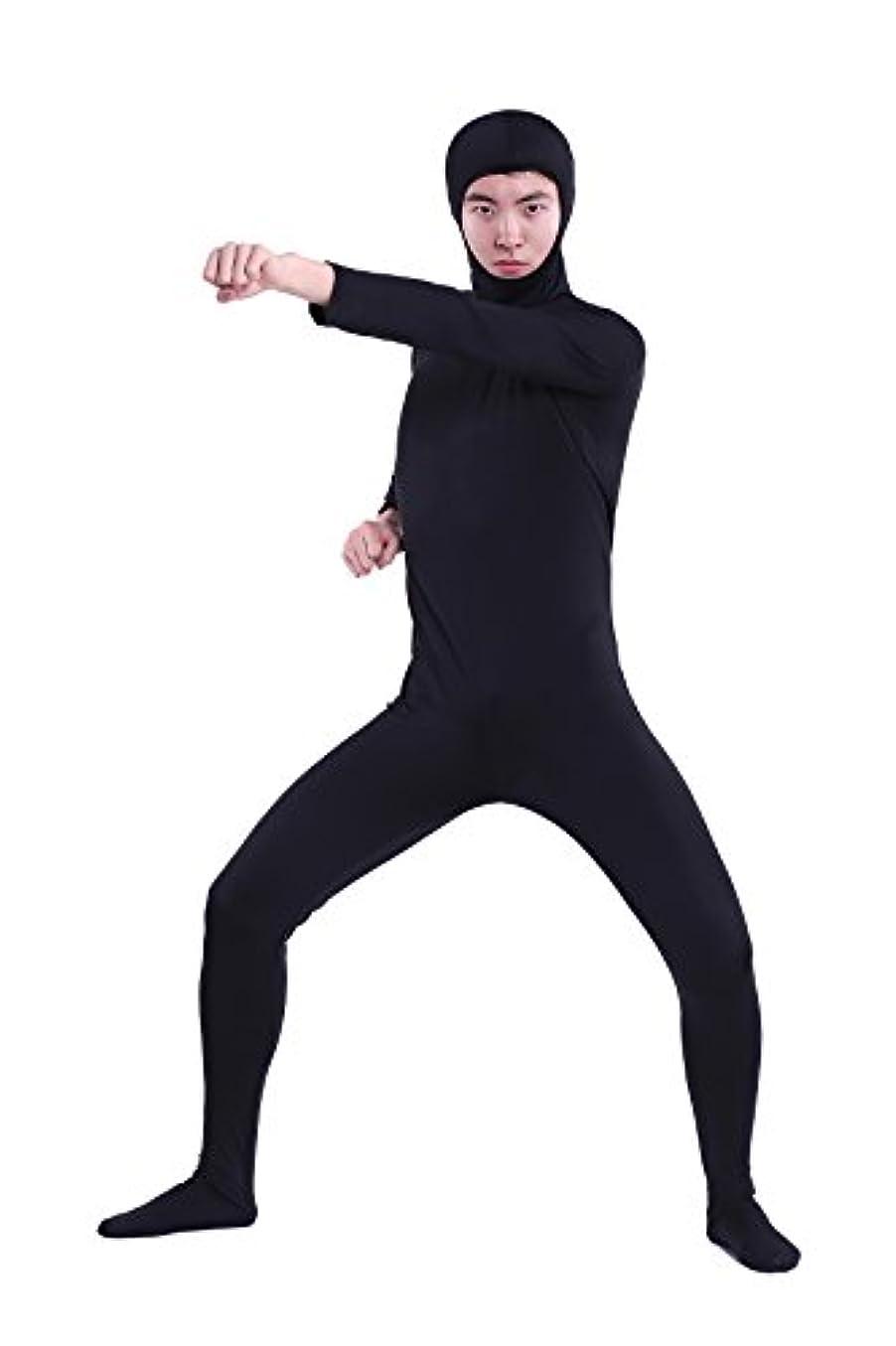コスチューム 全身タイツ 黒色 XXS 子供サイズ 身長120cmから130cm位 顔部分があいている 着ぐるみ (SS03-2H)