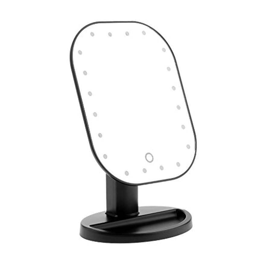 悪党空レイプLEDメイクミラー LED化粧鏡 メイクミラー LED女優ミラー 卓上スタンドミラー 180°回転 明るさ調整可 バッテリー式 全3色選べる - ブラック