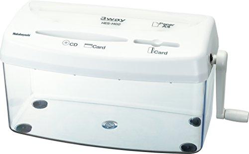 ナカバヤシ ハンドシュレッダー クロスカット CD・DVD対応 ホワイト HES-H02W