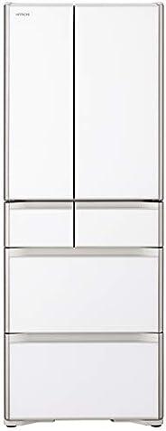 日立 冷蔵庫 475L 6ドア 強化ガラスドア 観音開き 日本製 幅68.5cm 真空チルド R-XG48K XW クリスタルホワイト