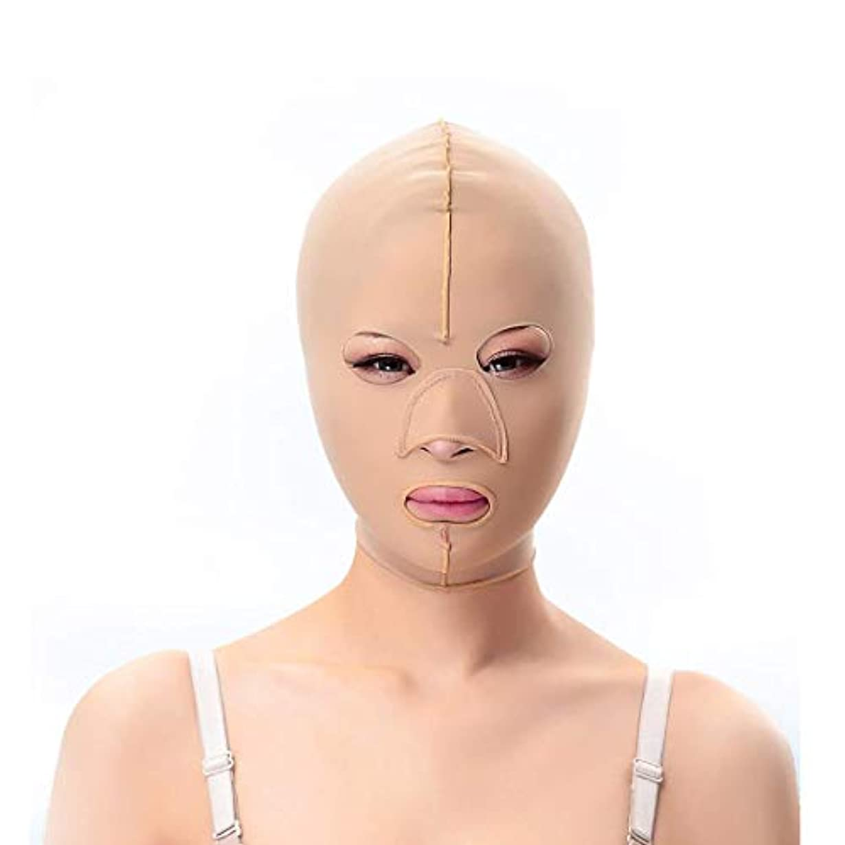 領事館属性パブスリミングベルト、フェイシャルマスク薄いフェイスマスク布布パターンリフティングダブルあご引き締めフェイシャルプラスチック顔アーティファクト強力な顔包帯(サイズ:M)