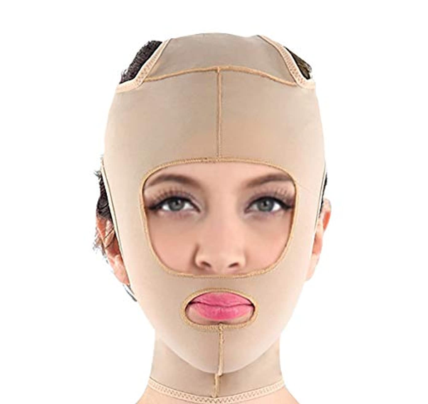 ランタンキャラクター転送包帯vフェイス楽器フェイスマスクマジックフェイスフェイシャルファーミングフェイシャルマッサージフェイシャルリンクルリフティング引き締めプラスチックマスク (Size : L)