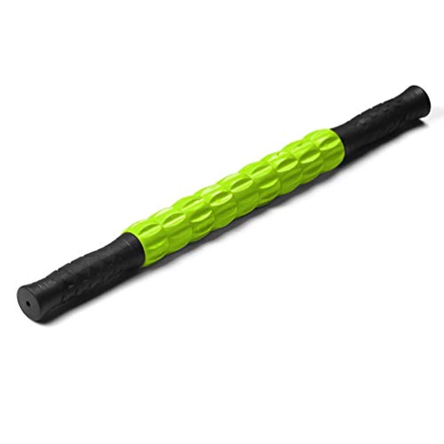 考慮吹きさらしカールマッスルマッサージスティックヨガディープマッスルリラクゼーションツールユニバーサルマッサージシャフトギアマッサージャーマッスルマッサージローラー - グリーン