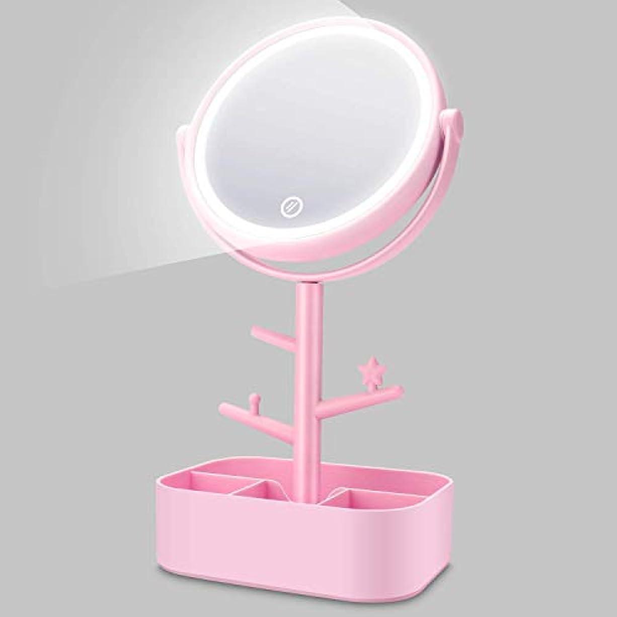 タンク与える皮肉化粧鏡 Aidbucks LED 卓上鏡 メイク 女優 スタンドミラー LEDライト付き 明るさ調節可 充電式 360度回転 収納 自然光 柔らかい光 折りたたみ式 USB/乾電池給電 ピンク