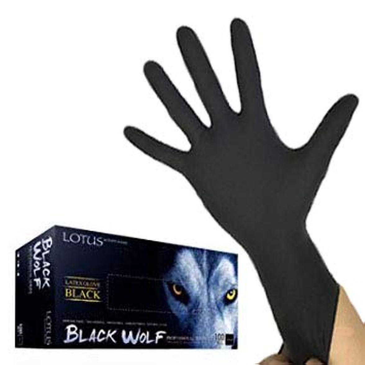 震える傾く権限(ロータス)LOTUS ブラックウルフ (ラテックス グローブ 薄手 左右兼用100枚入) (M)