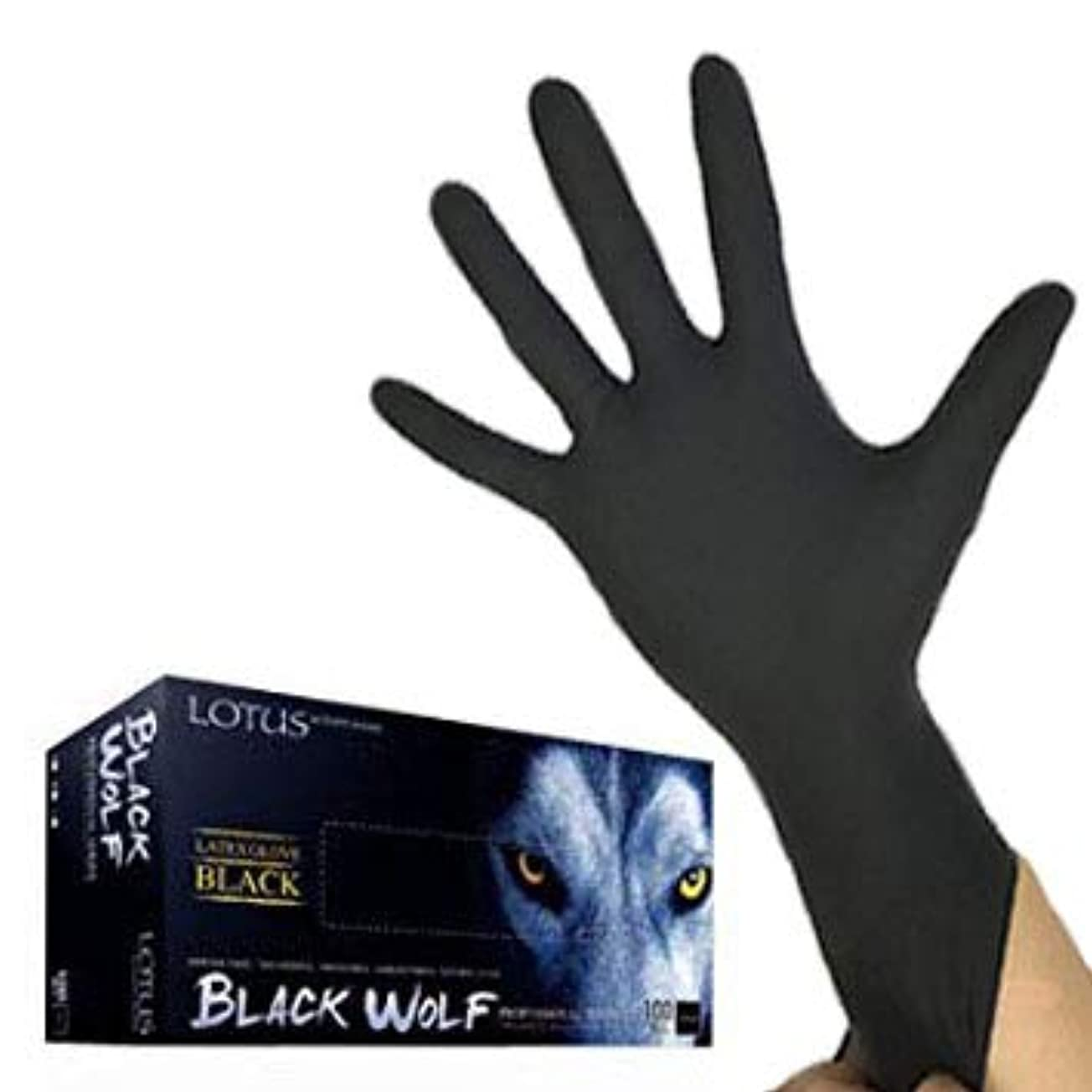 不器用生産的ミンチ(ロータス)LOTUS ブラックウルフ (ラテックス グローブ 薄手 左右兼用100枚入) (L)