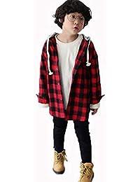 1decd1d537912  ミートン  子供服 ロング シャツ チェック柄 男の子 ワイシャツ トップス アウター フード付き 長袖