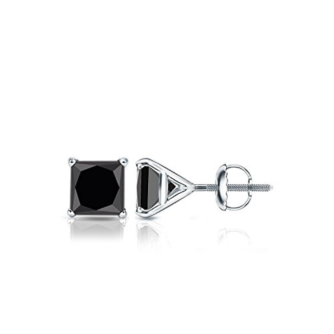 調停する予約和らげる18 Kホワイトゴールドメンズプリンセスブラックダイヤモンド4プロングMartiniスタッドイヤリング( 1 / 2 – 4 ct、ブラック) screw-back