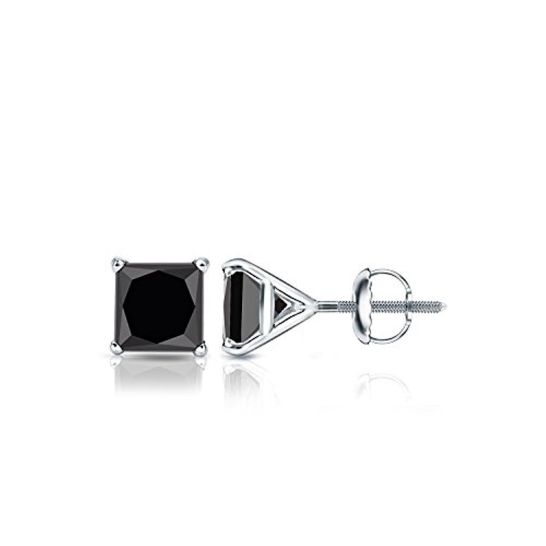 18 Kゴールドプリンセスブラックダイヤモンドメンズ4-prong Martiniスタッドイヤリング( 1 / 2 – 4 ct、ブラック) screw-back