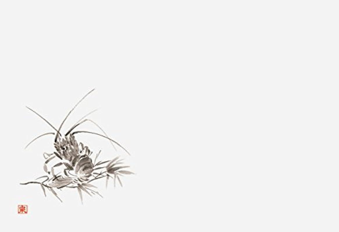 中級ガジュマル不快な若泉漆器 上質紙マット 尺3寸長手テーブルマット 魚介墨絵シリーズ 海老2 100枚入 B-26-13