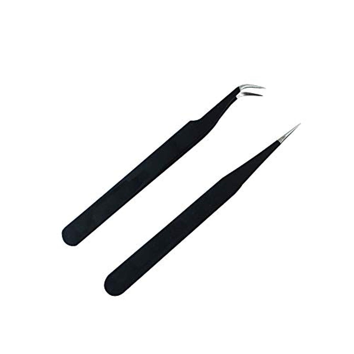 目の前の学んだジョリー直線及び湾曲した先端の睫毛エクステンションブラッククランプ鉗子の睫毛ダイヤモンドツールセットを拡張マニキュア帯電防止ピンセット鉗子