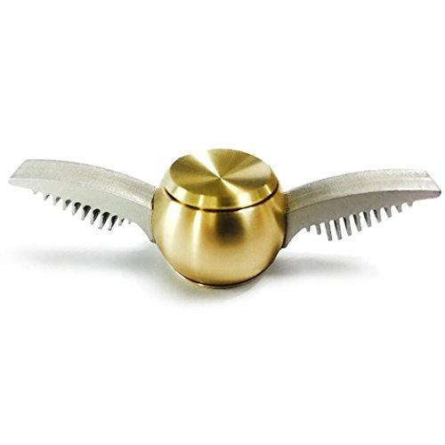 球形 三面回転可能 4様式 指先ジャイロ 指スピナー ハンドスピナー 指先ジャイロ(Hand Spinner Fidget Spinner) ADD、ADHD、自閉症、集中力を向上し、ストレスを解消する場合などに最適 ハンドスピナー 独楽おもちゃ 1-3分 成人用 /子供用 様式(A-B-C-D) (合金製一面回転可能の天使の翼, 金色)
