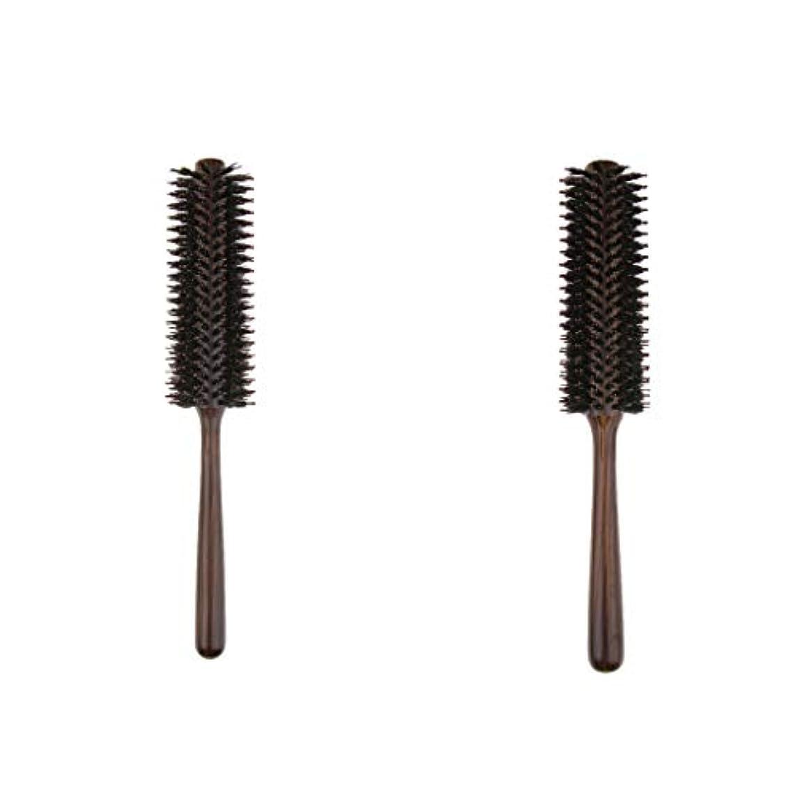 圧縮カメ眉2本 ヘアブラシ 木製櫛 ロールブラシ プロ 美容師用 自宅用