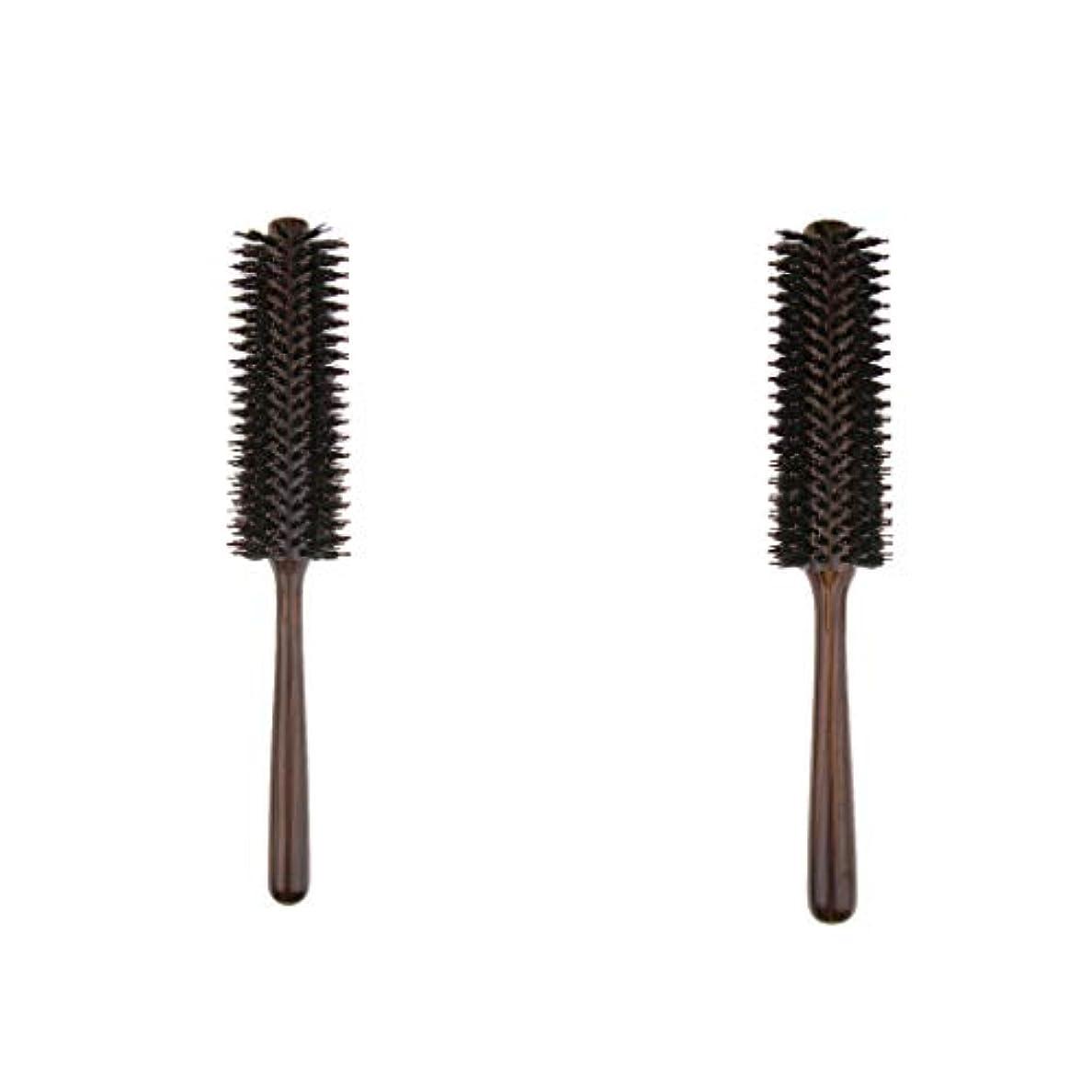 元気凶暴な静脈2本 ヘアブラシ 木製櫛 ロールブラシ プロ 美容師用 自宅用