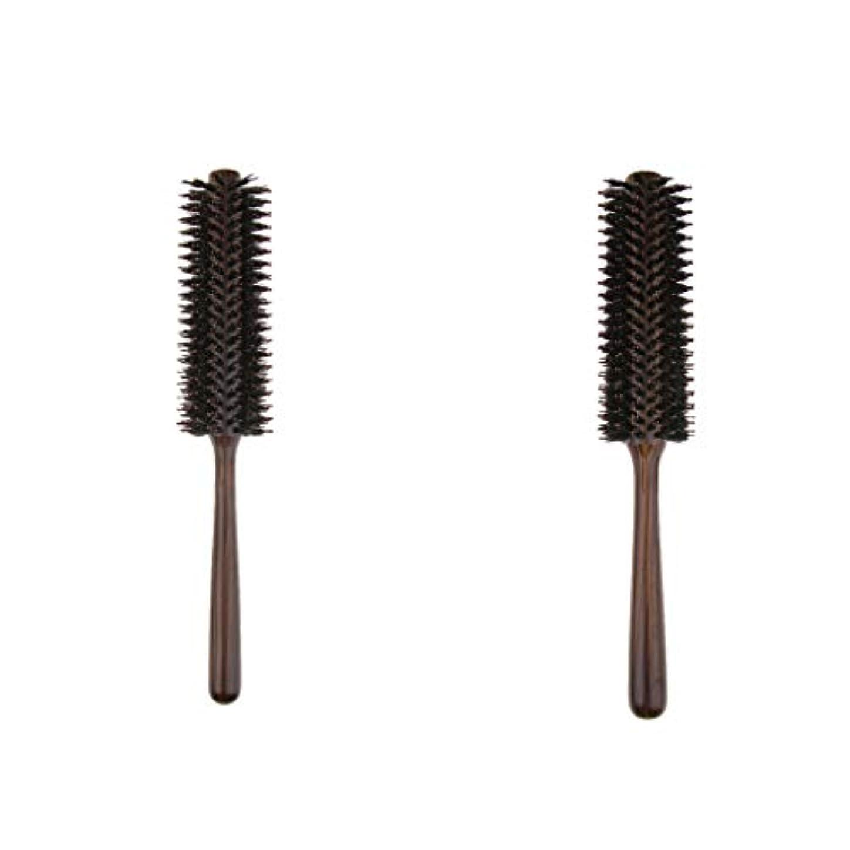インタラクションロードされた促進する2本 ヘアブラシ 木製櫛 ロールブラシ プロ 美容師用 自宅用