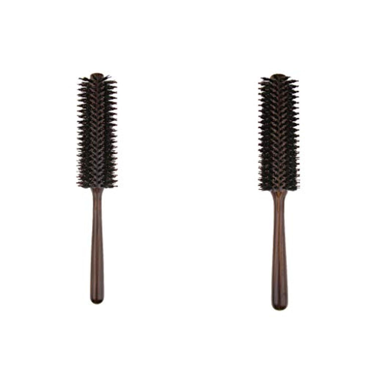 着実に無駄爪B Blesiya 2本 ヘアブラシ 木製櫛 ロールブラシ プロ 美容師用 自宅用