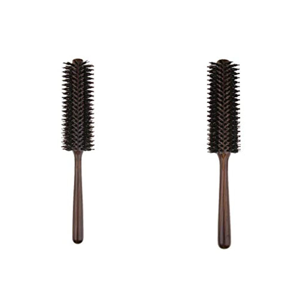 数それぞれ海里B Blesiya 2本 ヘアブラシ 木製櫛 ロールブラシ プロ 美容師用 自宅用