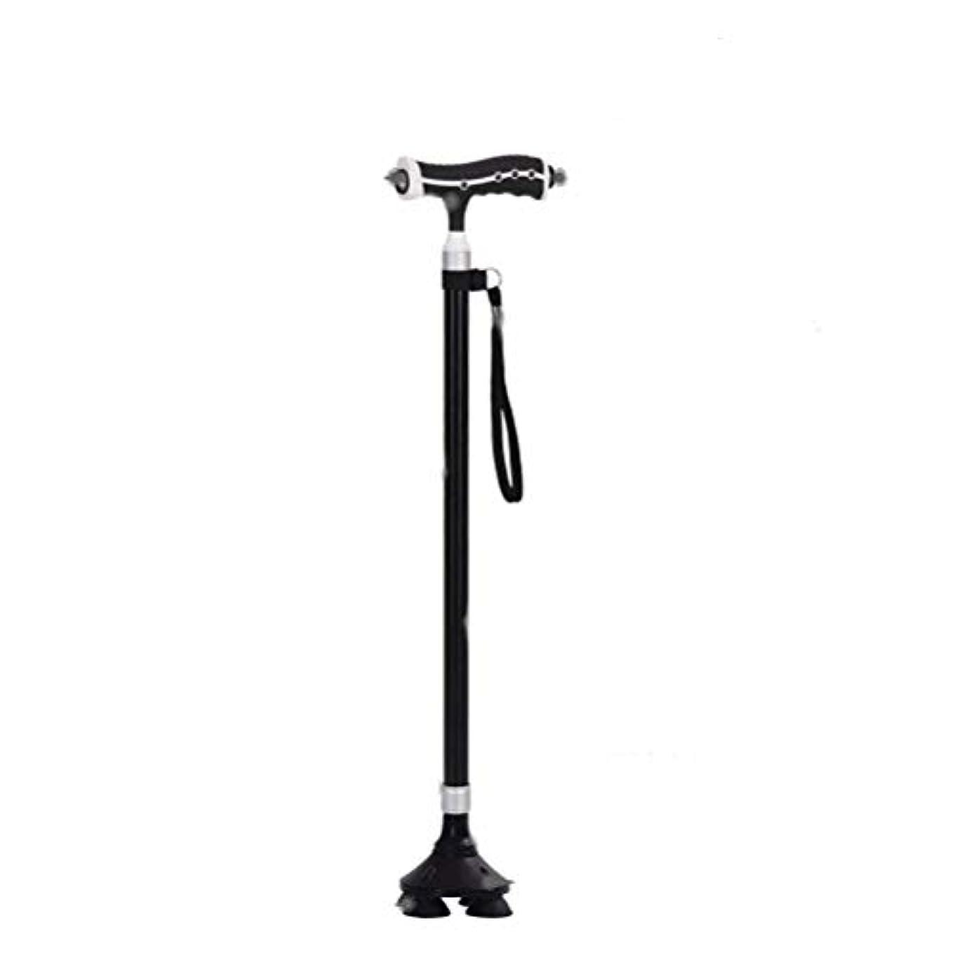 気候分数優雅高齢者 夜間散歩 歩行支援 ステッキLED ライト搭載 多機能 老人用品 四足の杖 長さ調整可能 自立杖 散歩