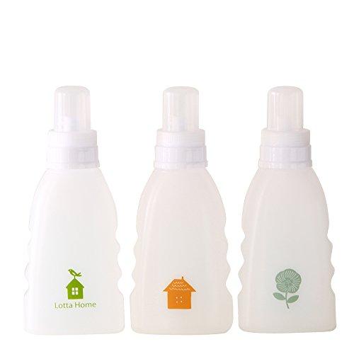 ロッタホーム 詰め替えボトル 液体/粉末洗剤詰め替え用 とり柄・おうち柄・おはな柄 3本セット -