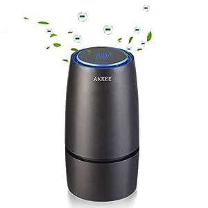 空気清浄機 車載 車用 卓上 オフィス用 アロマディフューザー搭載 イオン発生機 脱臭機 エアクリーナー 除菌消臭 花粉対策 タバコの煙 塵 PM2.5を除き 静音 USBケーブル付き ブラックAKKee