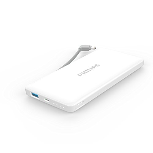 フィリップス 10,000mAh 大容量 モバイルバッテリー アップル認証 ライトニングケーブル内蔵 薄型 DLP6100 (ホワイト)