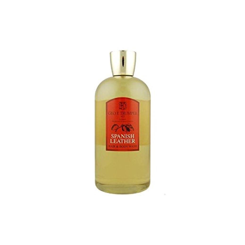 革の髪とボディウォッシュスペイン語 - 500ボトル x4 - Trumpers Spanish Leather Hair and Body Wash - 500mlTravel Bottle (Pack of 4) [...