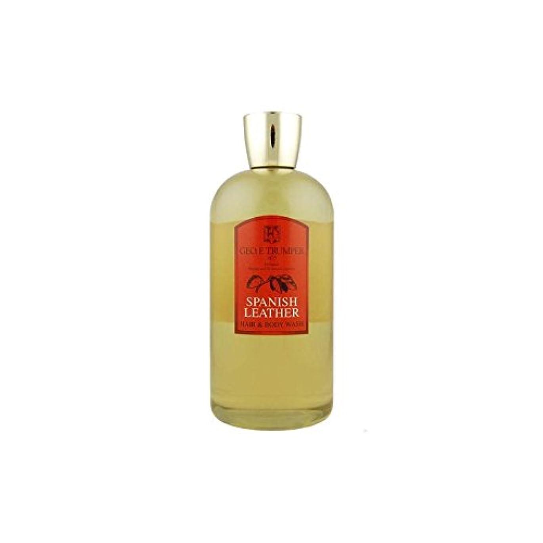 動くありふれた責め革の髪とボディウォッシュスペイン語 - 500ボトル x2 - Trumpers Spanish Leather Hair and Body Wash - 500mlTravel Bottle (Pack of 2) [...