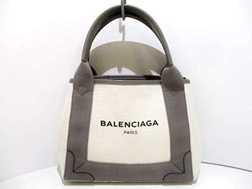 (バレンシアガ)BALENCIAGA トートバッグ ネイビーカバXS アイボリー×グレー 390346 【中古】