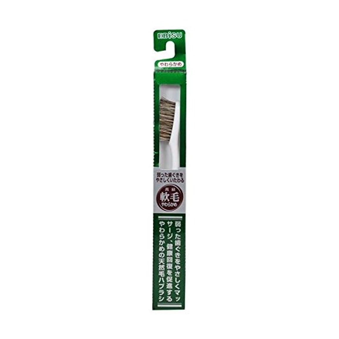 舌な平らな節約エビス 天然毛軟毛歯ブラシ350 やわらかめ ×8個セット