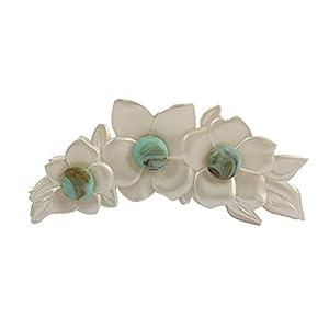 [キャラバン] Caravan LGフランス製ターコイズビーズの装飾付き真珠の花形のクロウクリップ 12380