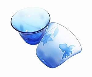 [即ギフト!]~金魚~ガラス おちょこ ペア goldfish sake cup (light blue)