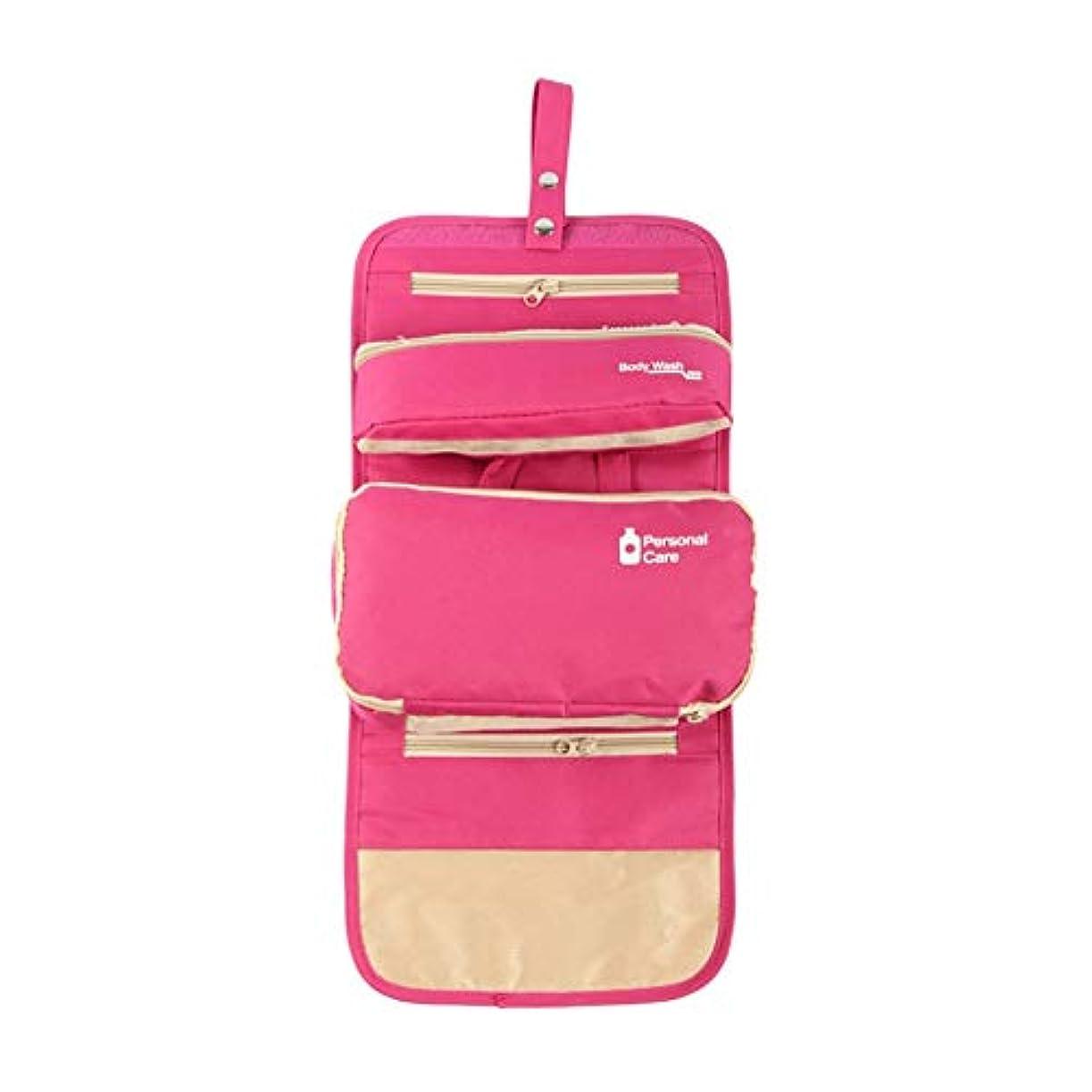 眼組立エスニック化粧オーガナイザーバッグ ハンギングトラベルウォッシュバッグナイロンポータブル化粧品家庭用ストレージバッグ折りたたみ旅行化粧品収納ボックス 化粧品ケース (色 : ピンク)