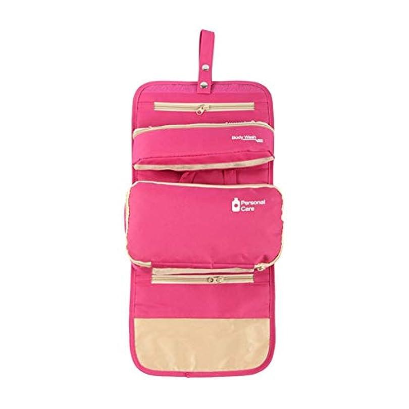 アジャあなたのものひらめき化粧オーガナイザーバッグ ハンギングトラベルウォッシュバッグナイロンポータブル化粧品家庭用ストレージバッグ折りたたみ旅行化粧品収納ボックス 化粧品ケース (色 : ピンク)