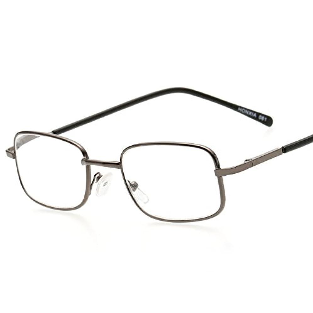 Fuyingda ファッションスクエア老眼鏡 老人読書用メガネ メタルフルフレームメガネ強度:+1.0?+4.0