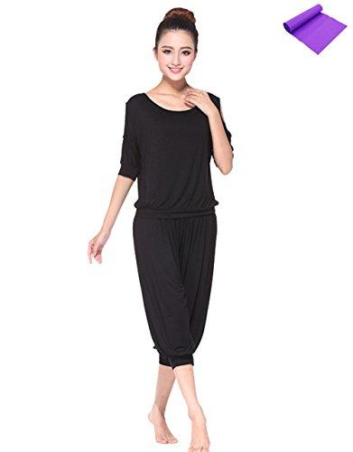 AIKOSHA(アイコウシャ) レディース ヨガウェア + ヨガエクササイズバンドのセット商品 ヨガ服 YOGA 上下セット トップ&七部丈ズボン ゆったり 女性に嬉しいヨガウェアシリーズ - ブラック - XL