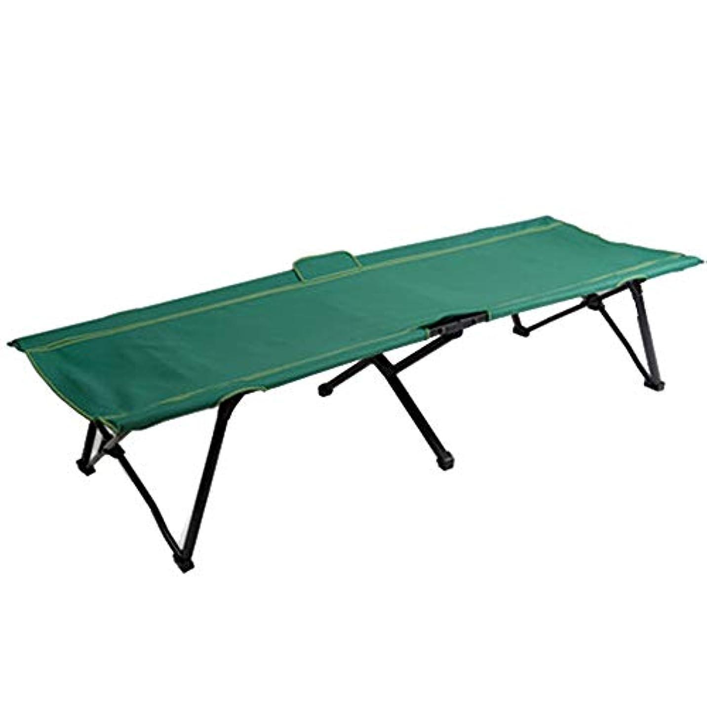 集中のど有限キャンプベッド折りたたみベッドシングルシエスタベッドグリーンシンプルで持ち運びが簡単クイックオープン (Color : Green)