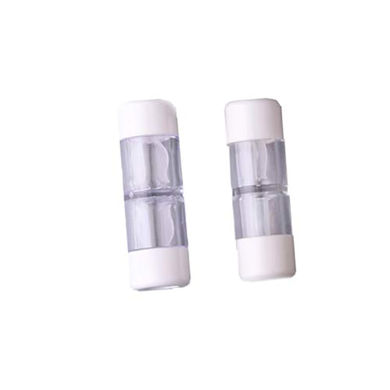 ダブル確率荒れ地Heallily コンタクトレンズケース1セットコンタクトレンズケースボックス収納ジャーツール瓶とピンセット付き(5ペアRGPミックスカラー)