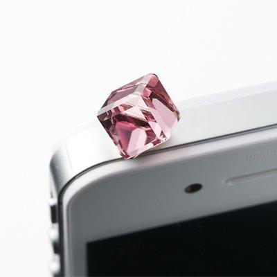 ライトローズ/ヴィトレイルライト/虹色に輝く スワロフスキーキューブイヤホンジャック アクセサリー スマートフォンピアス スマホピアス iPhone5s iPhone5