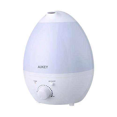 AUKEY 加湿器 超音波加湿器 大容量1.3L 18畳まで アロマディフューザー 7色変換LED付き 省エネ 自動オフ 水漏れ防止 静音 連続加湿10時間★2年安心保証 UH-M5